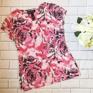 INC Rhinestone Sheer Rose Print Tee Shirt